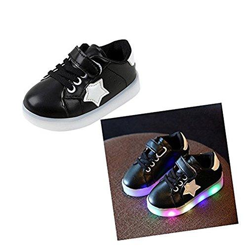 LED Schuhe helle Schuhe, Stillshine - Kinder Jungen-Mädchen-reizende LED helle Schuh-Turnschuhe Halloween-Weihnachtsgeschenk (25, Schwarz)