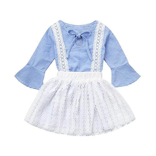 Amlaiworld Baby Mädchen Spitze Hohl kleider Kleinkind blau Karomuster Niedlich kleidung,1-6 Jahren (4 Jahren, Blau) (Hochzeit Kleinkind Blau T-shirt)