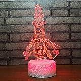 Usb 7 Farben 3D Visuelle Led Leuchtturm Gebäude Form Nachtlichter Geschenke Für Baby Schlafzimmer Beleuchtung Dekor Touch Taste Tischlampe