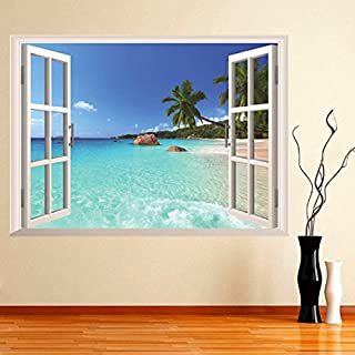 Aliciashouse 3D Hawaii Urlaub Meeresblick Strand Fenster Blick Aufkleber Wandtattoo