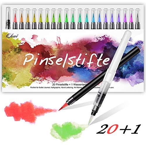 Qhui Rotuladores Punta Pincel 20 Colores 1 Agua Pincel