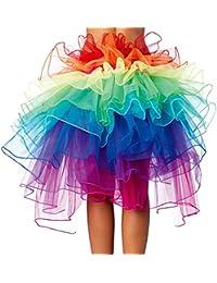 Jupe arc-en-ciel Robe de ceinture 8 Layered Vivid Clubwear Fancy Burlesque Costume Tulle Tutu Jupe pour femme Rara Filles En fête et spectacle 1 Taille
