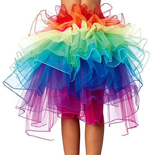 Ranibov Rock Ribbon Gürtel Kleid 8 Layered Vivid Clubwear Fantastisches Burlesque Kostüm Tulle Tutu Rock für Frauen Mädchen Rara In Party und Show, 1 (Kostüm Tanz Burlesque)
