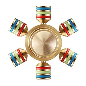 Fidget Spinner, Magicfly 6 Wings Detachable Hand Spinner - Customizable, Glow in the Dark Spinner, Luxury Quality, Premium R188 Bearing, Help Focus and Reduce Stress, Spins 4 Minutes+ (Gold)