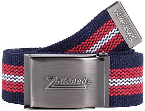 2Stoned Tresor-Gürtel Geldgürtel Navy-Rot-Weiß 4 cm breit Matte Schnalle Speed, Safe Belt für Damen und Herren (Bunte Safe)