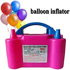 Smartcraft New Two Nozzles High Power Electric Balloon Inflator Air Pump for Wedding Party, Multi Color