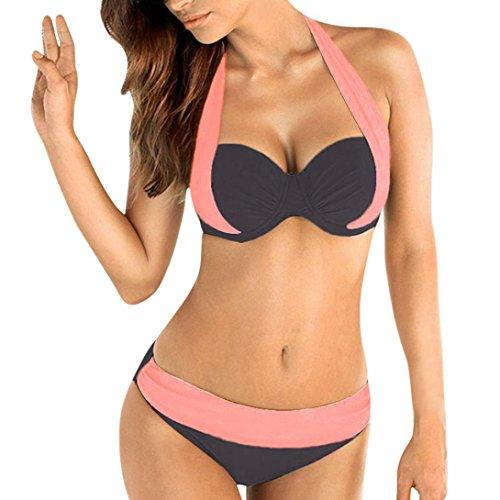 Damen Sexy Bikini Set Push up Badeanzug Gehäkelt Neckholder Swimsuit Streifen Beachwear Retro Schalen Binden Bügellos Bunt (Gehäkelte Mini-kleid)