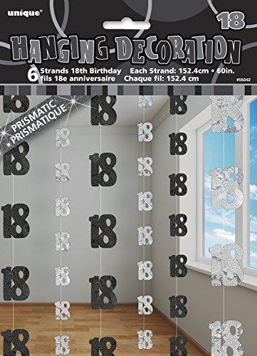 Unique Party - 55342 - Paquet de 6 Décorations de 18e Anniversaire Suspendues - 1,5 m - Noir Glitz 0011179553426
