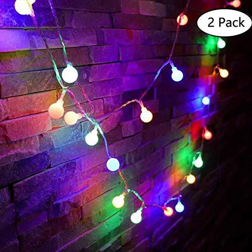 Luci Della Stringa Della Palla,[2 Set] 8 modalità 10M/33FT 60 LEDs Catena Luminosa led USB alimentato per il partito, Camera da letto, Decorazione della camera, Decorazione di nozze (Multi colore)