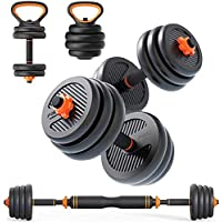 Skyland Unisex Adult Enviromental Adjustable Dumbbell N Barbell Set with Kettlebell - Black-EM-9268-20