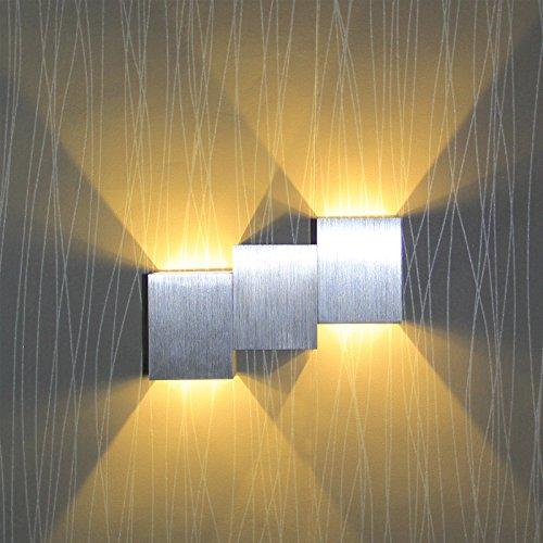 BAYTTER® moderne 6W LED Wandlampe Wandleuchte silber Flurlampe Design aus Aluminium warmweiß für Flur Veranda Gehweg Schlafzimmer Wohnzimmer Licht Esszimmer Gallerie usw. Leuchtwinkel von 60 Grad (Typ A) [Energieklasse A++]