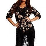 Damen Hippie Tunika Shirt Lochmuster Fransen Bedruckt Tunikashirt, Farbe:Schwarz;Größe:One Size