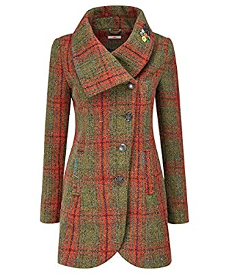 Joe Browns Women's Checked Winter Jacket with Wrap collar