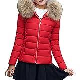 Daunenjacke Damen, DoraMe Frauen Mode Linie Daunenjacke Casual Dicker Winter Mantel Beiläufiger Slim Jacken Überzieher (M, Rot)