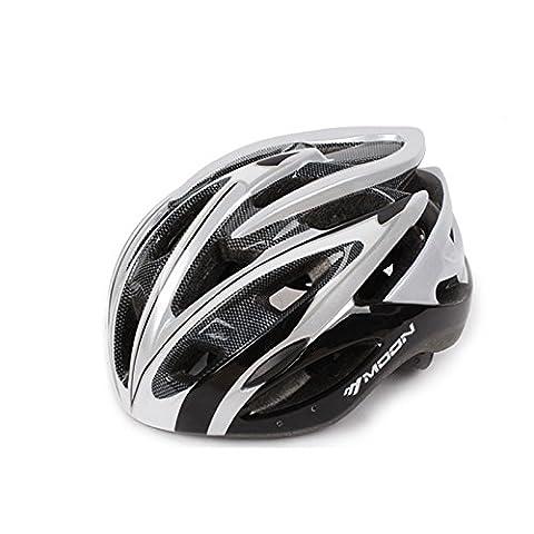 Ultra léger - Casque de vélo spécialisé, Casque de vélo de sport réglable Casques de vélo pour vélo de route et de montagne, Motocyclette pour hommes et femmes adultes, Jeunes - Courses, Protection de sécurité, Fibre de carbone ( Color : Black and white L )