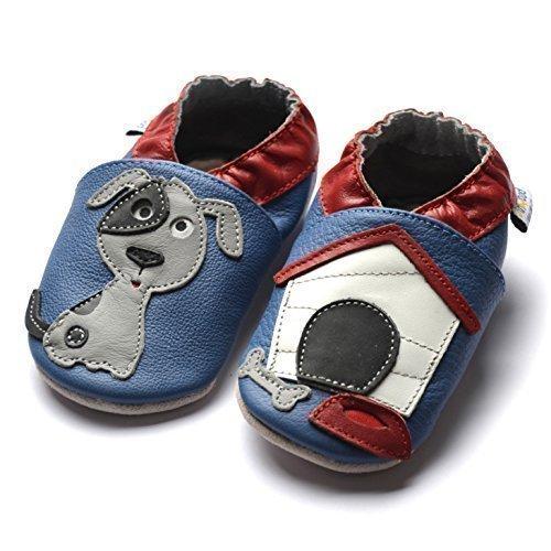 Jinwood designed by amsomo - DOG oceanblue - soft sole - Hund - Hausschuhe - Lederpuschen - Krabbelschuhe Blau