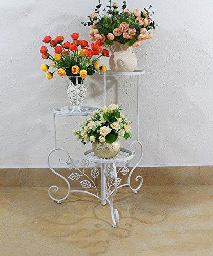XUEWENZHE fleurs Etagère Fer à repasser de style européen à trois étages Stand de fleur Rotary Intérieur Salon de salon Balcon Romantique Ensemble classique à fleurs de plantes classiques Etagère de Fleur ( Couleur : Blanc , taille : 48*23*68cm )