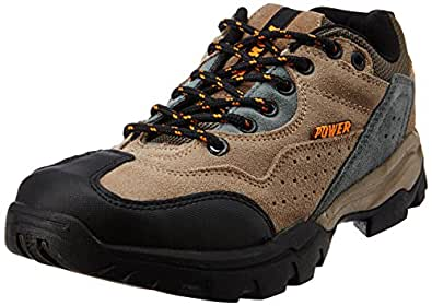 Power Men's All Season Beige and Yellow Canvas Trekking and Hiking Boots - 7 UK (8398118)