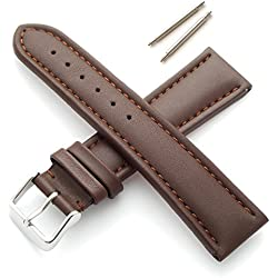 Brown 18mm Smooth Padded Leather Watch Strap (XL)