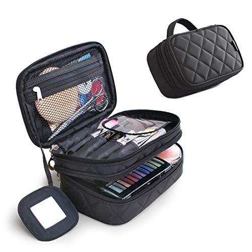 Cosmetics Bolsa de maquillaje de doble capa con espejo belleza brochas de maquillaje bolsas de viaje Kit Organizador Cosmético Bolsa Profesional Multifuncional Organizador para Mujer