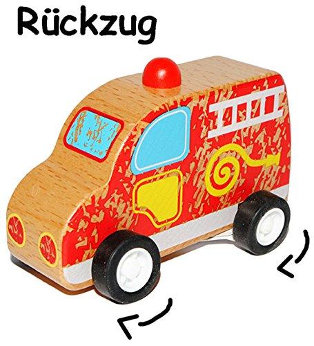 Rückzugsauto / Aufziehauto - Fahrzeug aus Holz - zum Fahren und Aufziehen / mit Rückzug - Aufziehspielzeug - Polizei - Krankenwagen - Feuerwehr - Schulbus / Holzfahrzeug - Rettungsfahrzeuge - Holzauto / Holzautos