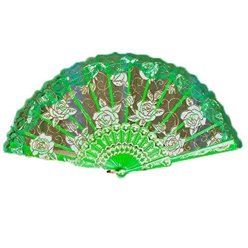 Faltbarer Ventilator, faltbar, mit Fächern, grün
