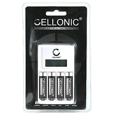Cellonic® chargeur de piles rapide avec écran LED - adaptable / réglable piles AA / AAA - Inclus 4 piles AA Cellonic® accu rechargeables - AA Accu 2600mAh (Mignon, HR6)