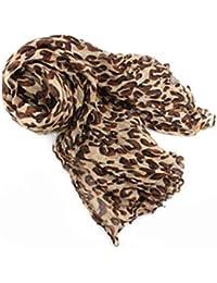 Damen Schal Tuch lange knittern Weich Schals Tücher Leopard