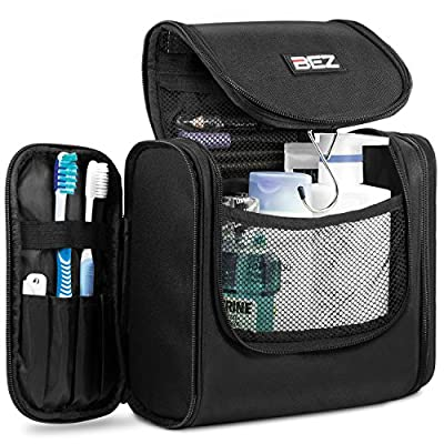 Travel Toiletry bag, Cosmetic Hanging Makeup Organizer, BEZ™ Hanging Toiletry Bag for Men & Women Rugged & Water Resistant with Mesh Pockets & Sturdy Hook Travel Shower Bag