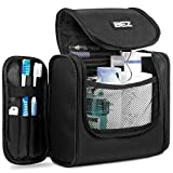 Beauty Case da Viaggio, BEZ Borsa Toilette per Uomo e Donna, Trousse Make Up con Gancio, Ripiegabile e Impermeabile, Nero