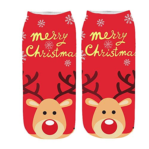 Moonuy 1 PC Paar Kurze Socken Frauen 3D Socken Cartoon Lustige Frohe Weihnachten Verrückte Nette Erstaunliche Neuheit Druck Söckchen