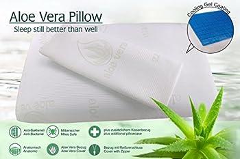 Oreiller a mémoire de Forme 70 x 40 x 13 cm orthopédique ergonomique gel frais dissipateur avec 2 Aloe Vera Housses Lavables à la Machine Anti Acariens Hypoallergénique