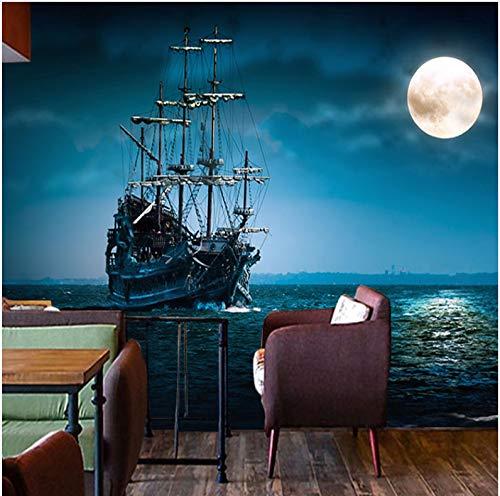 WH-PORP 3D Tapete Benutzerdefinierte Wandbild Moderne 3D Nachtansicht Vollmond Ozean Schiff Schlafzimmer Büro Wohnzimmer Tapete Kaffee Restaurant Tapete Wandbild-200cmX140cm Ozean-schiff