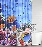 Duschvorhang Ocean 180 x 200 cm, hochwertige Qualität, 100% Polyester, wasserdicht, Anti-Schimmel-Effekt, inkl. 12 Duschvorhangringe