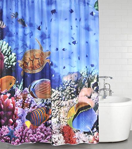 Duschvorhang Ocean 180 x 200 cm, hochwertige Qualität, 100% Polyester, wasserdicht, Anti-Schimmel-Effekt, inkl. 12 Duschvorhangringe (Duschvorhang Fische)