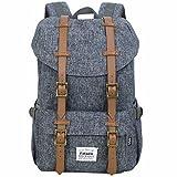 Fafada Rucksack Herren Damen Kinder Rucksack Retro Wasserabweisend Nylon Daypack Schulrucksack Laptoprucksack Backpack (18L Grau)