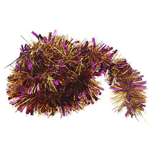 Cold Toy 2M Weihnachtsbaum Kranz Girlande für Dekoration Wandbehang Christmas Shiny Tinsel (Lila Gold)