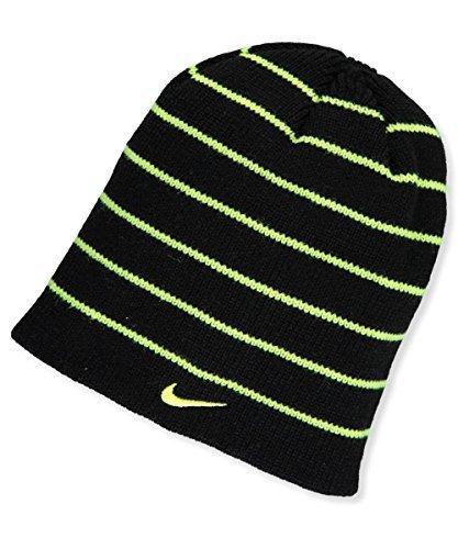 Nike Boys' Reversible Beanie Black and Neon Green Stripe (Black Stripe Beanie)