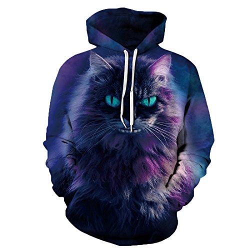 k Muster Langarm Kapuzenpullover Hoodie Sweatshirt Weihnachten Halloween Hoodie Kapuzenjacke mit Tasche QYDM258 Katze S/M ()
