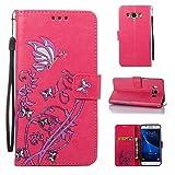 Cozy Hut Samsung J5108/Galaxy J5(2016) Hülle, Narcissus Muster Leder Wallet Case Handyhülle Klapper Tasche Magnetverschluß mit Kartenfach Standfunktion für Samsung J5108/Galaxy J5(2016) - Rose Red