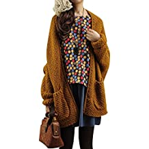 9fb62abe9bbb Quge Femmes Cardigan Pull Manches Longues en Maille Chandail Outwear Gilet  avec Poches