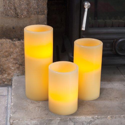 Vela Pilar Led en cera a pilas de Tamaño Grande de Lights4fun