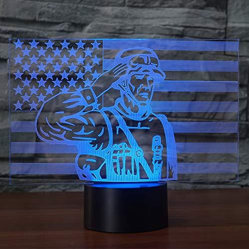 Amerikanischer Soldat Grafik Fantasy 3D Nachtlicht 7 wechselnden Farben für Wohnkultur oder Geschenk-Unterstützung USB