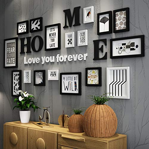 Bild Frames Pine Wood, Creative Photo Frames Set von 17 Pieces, Picture Wall Frames HD Plexiglas, Wall Hangings Collage Photo Frames for Wall,A (Frame Photo Mount Wall Digital)