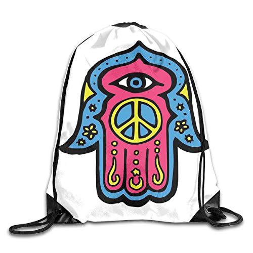 Drawstring Backpack Gym Bags Storage Backpack, Hippie Boho Hamsa Hand of Fatima with Peace Sign In The Palm Ethnic Asian Art,Deluxe Bundle Backpack Outdoor Sports Portable Daypack -