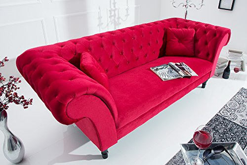 Invicta Interior Chesterfield Sofa Contessa SAMT rot mit 2 Kissen Couch Barock Stil Zweisitzer 2er Sofa