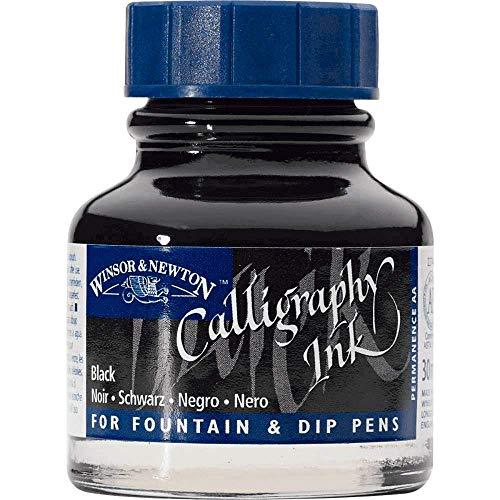 Winsor & Newton 1111030 Kalligraphie Tuschen (für Füllfederhalter oder Schreibfedern, untereinander mischbar, lichtecht, beständige Farbe) 30 ml Flasche schwarz -