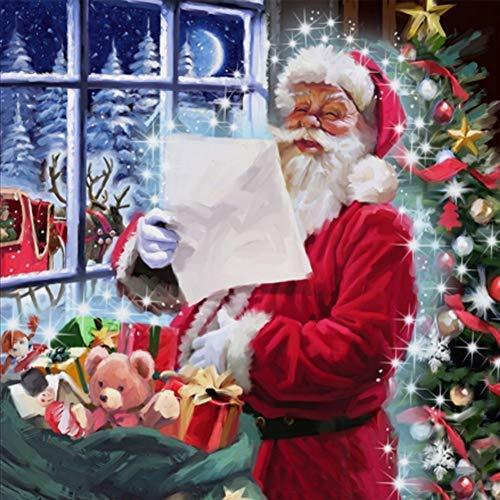 lerei-Set, Diamant-Stickerei, Malen nach Zahlen, Kits zum Malen und Basteln, Heimdekoration, Wandsticker - Weihnachtsmann N7266 ()