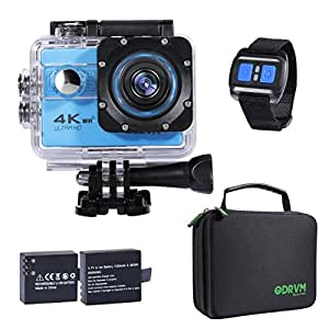 Action Camera 4K Underwater Camera with 2.4G Wireless Remote WIFI UHD 60fps 20MP Waterproof Camera with 2 Batteries/70-170 Selectable Wide Angle/19 Accessories for Drone, Kids, Bike, Motorcycle, Helmet, Cycling, Diving, Snorkelling
