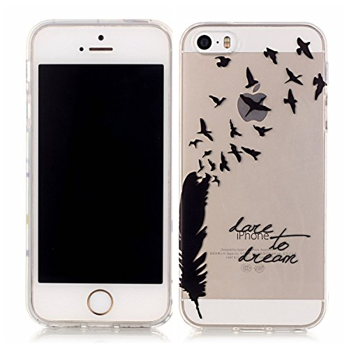 iPhone 5S Hülle Case,iPhone SE Hülle Case,Gift_Source [Crystal Clear] Fashion Colorful Silicone Protective Hülle Case Premium Flexible Transparent Soft TPU Slim Hülle Case Cover für iPhone SE/5S/5 [Pl E01-10-Dare to Dream